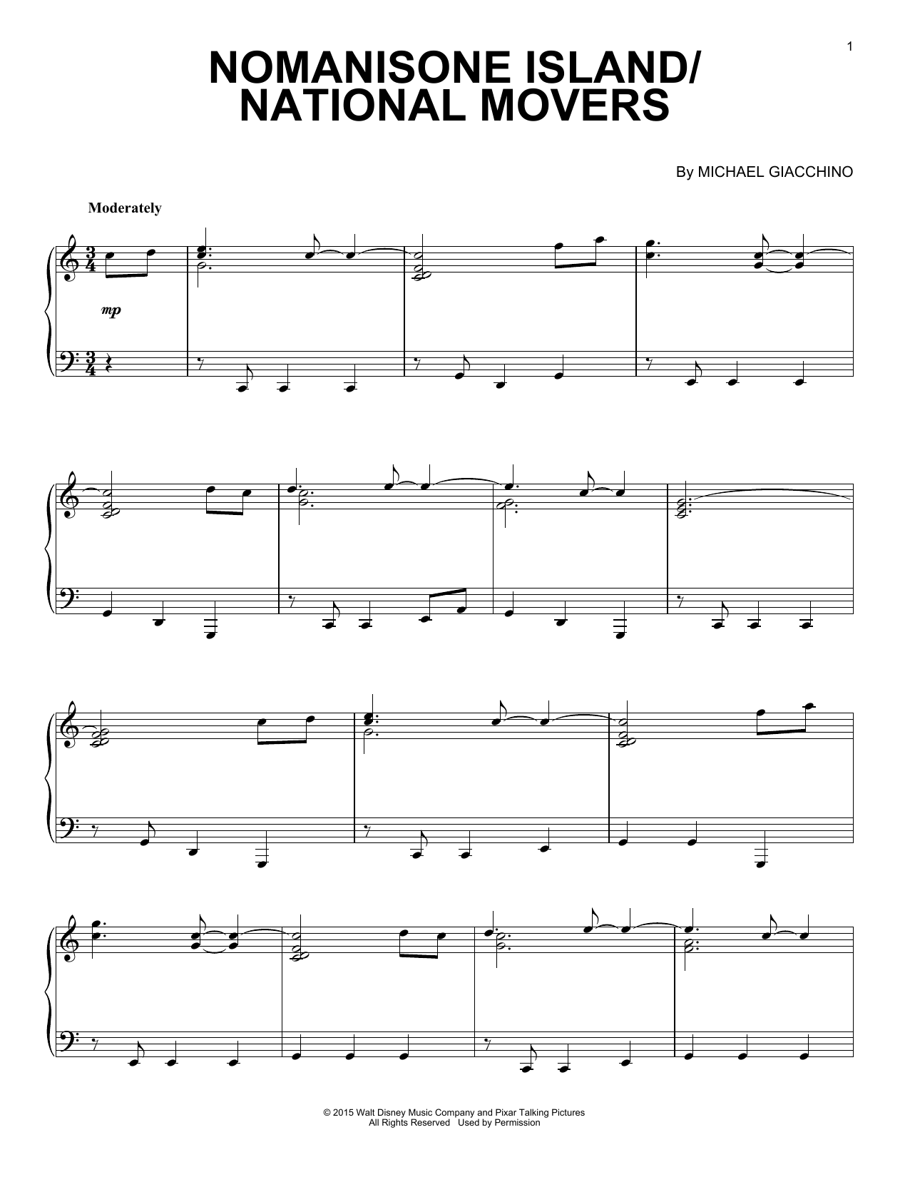 Download Michael Giacchino 'Nomanisone Island/National Movers' Digital Sheet Music Notes & Chords and start playing in minutes