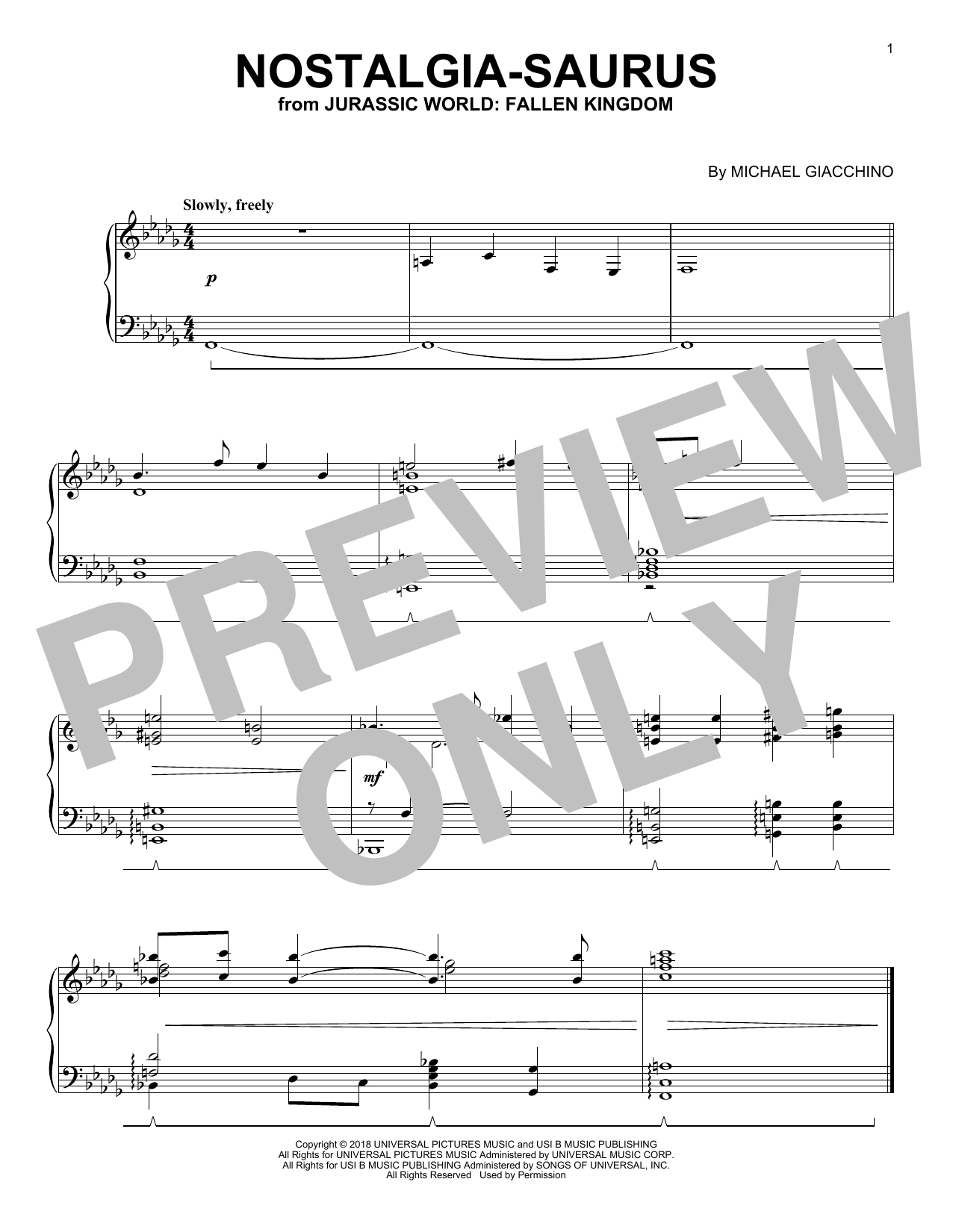 Download Michael Giacchino 'Nostalgia-Saurus (from Jurassic World: Fallen Kingdom)' Digital Sheet Music Notes & Chords and start playing in minutes