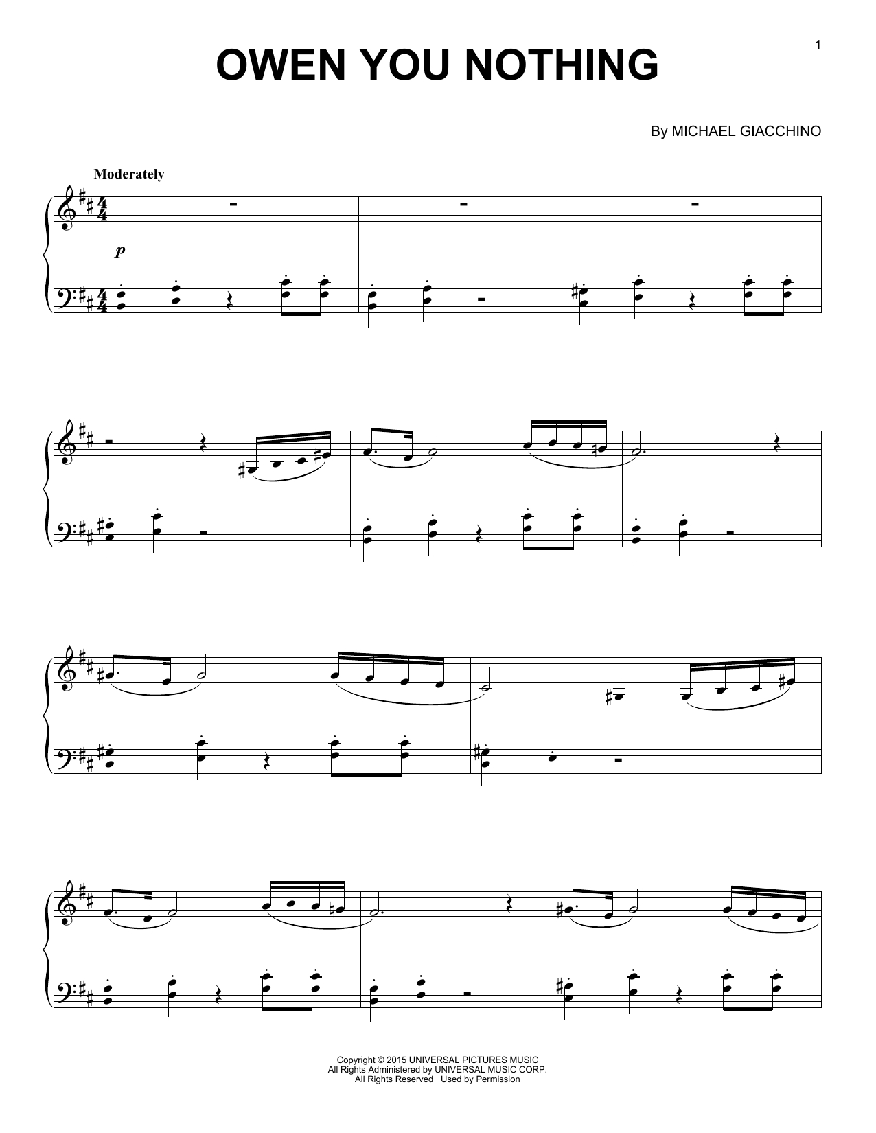 Michael Giacchino Owen You Nothing sheet music preview music notes and score for Piano including 2 page(s)