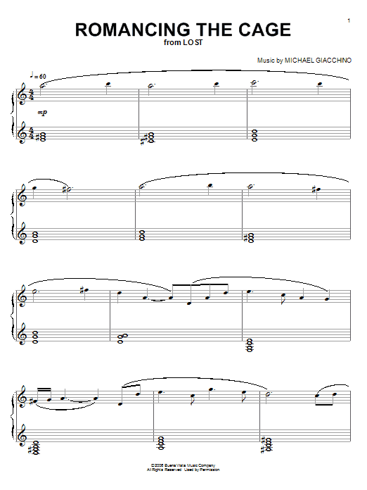 Download Michael Giacchino 'Romancing The Cage (from Lost)' Digital Sheet Music Notes & Chords and start playing in minutes