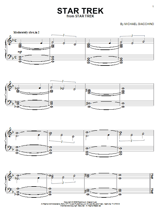 Michael Giacchino Star Trek sheet music preview music notes and score for Piano including 3 page(s)