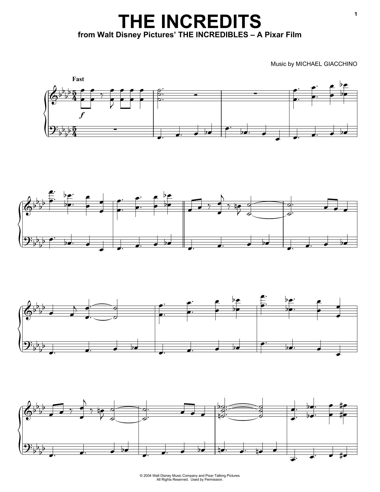 Michael Giacchino The Incredits sheet music notes and chords