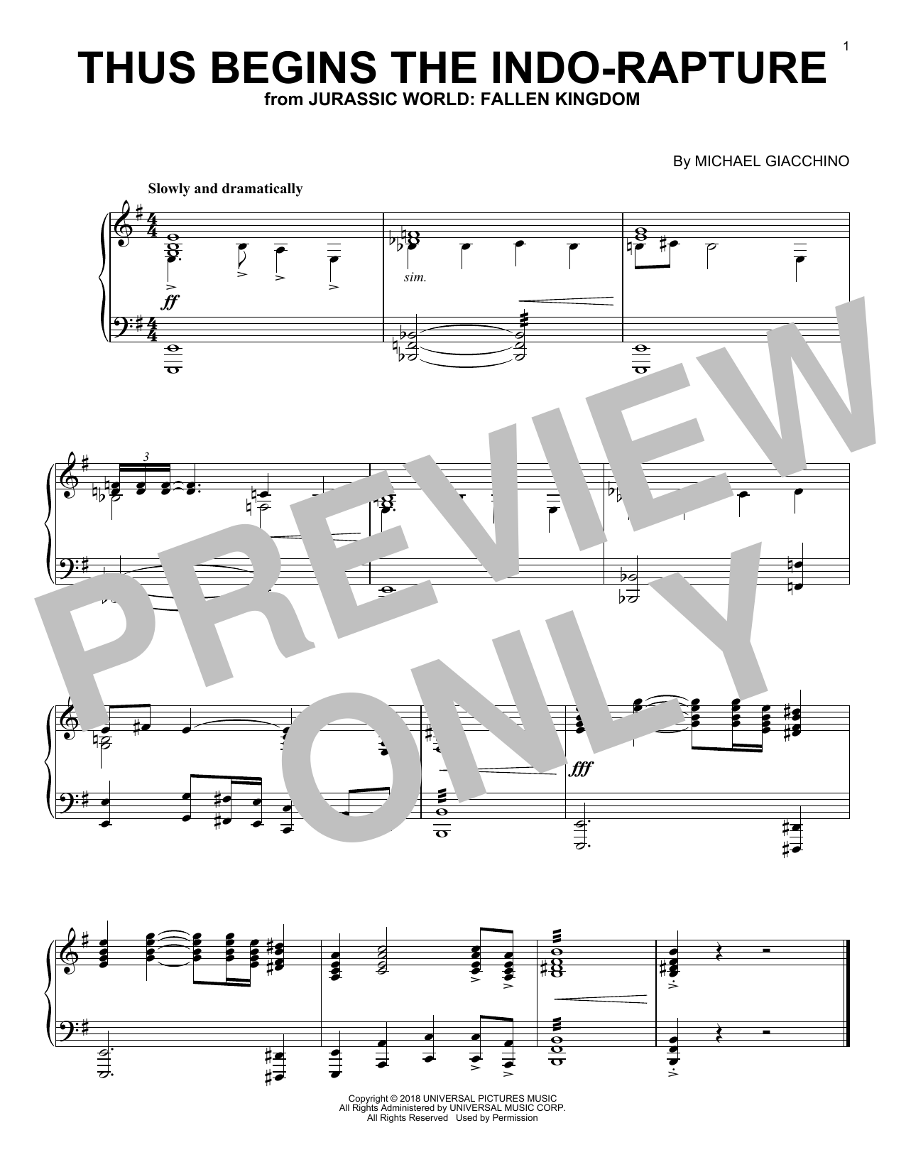 Download Michael Giacchino 'Thus Begins The Indo-Rapture (from Jurassic World: Fallen Kingdom)' Digital Sheet Music Notes & Chords and start playing in minutes