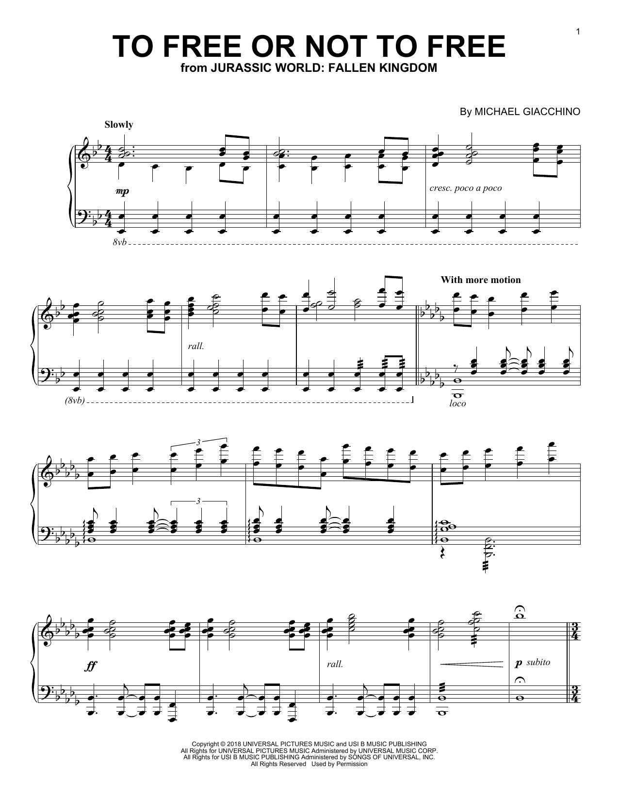 Download Michael Giacchino 'To Free Or Not To Free (from Jurassic World: Fallen Kingdom)' Digital Sheet Music Notes & Chords and start playing in minutes