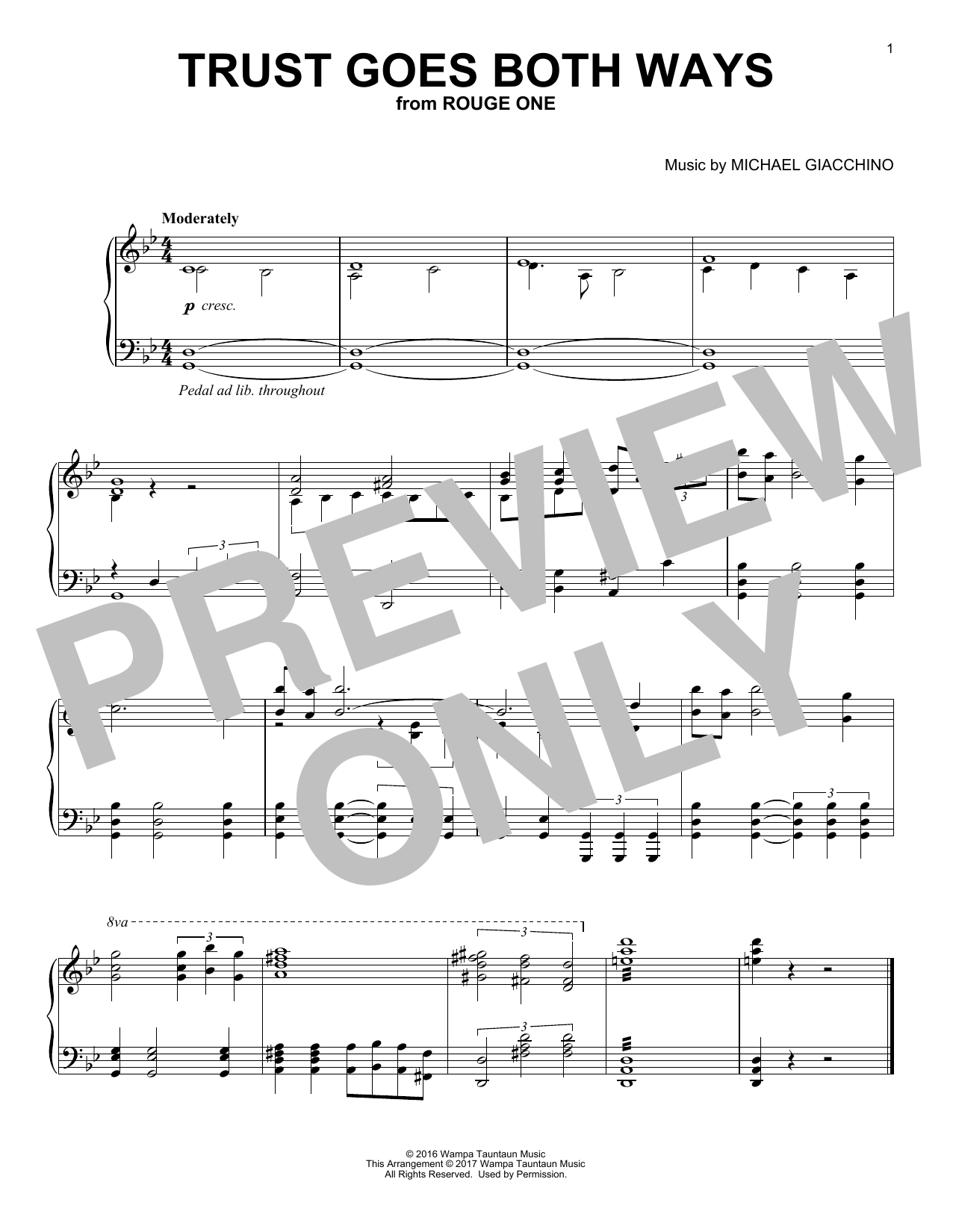 Download Michael Giacchino 'Trust Goes Both Ways' Digital Sheet Music Notes & Chords and start playing in minutes