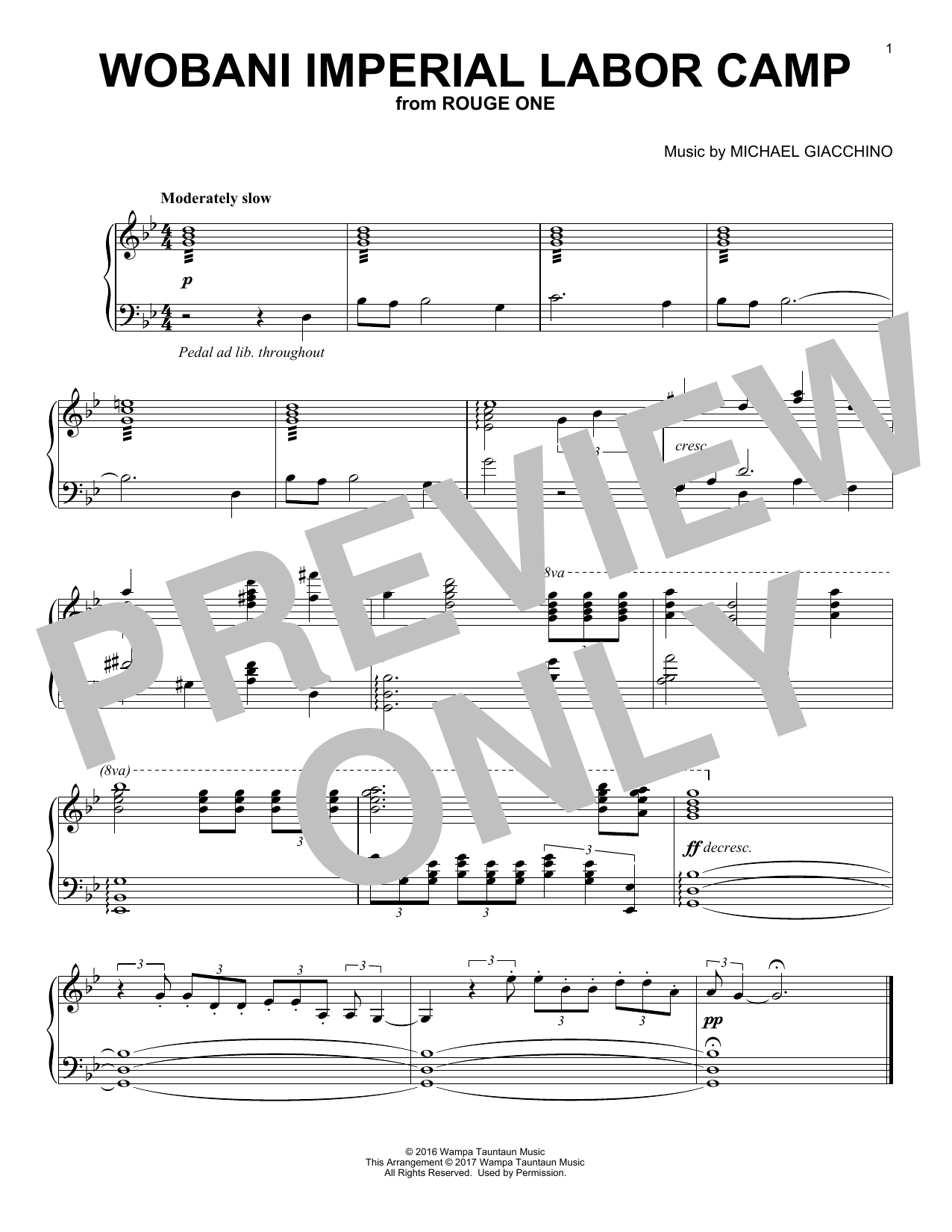 Michael Giacchino Wobani Imperial Labor Camp sheet music preview music notes and score for Piano including 1 page(s)