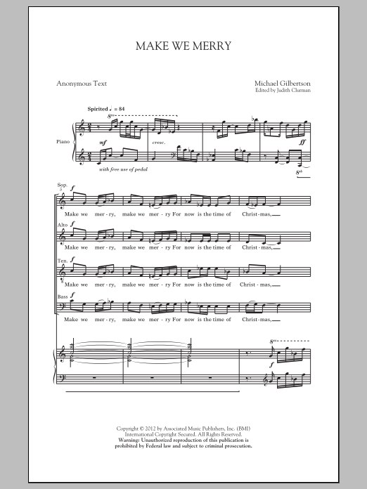 Michael Gilbertson Make We Merry sheet music preview music notes and score for SATB including 10 page(s)