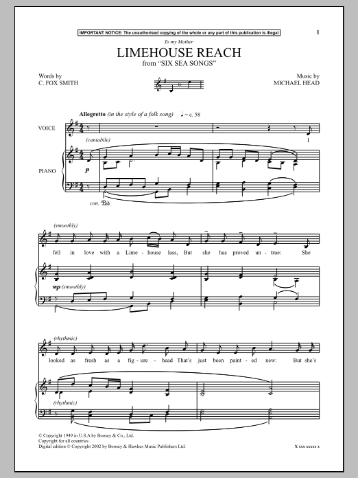 Download Michael Head 'Limehouse Reach (from Six Sea Songs)' Digital Sheet Music Notes & Chords and start playing in minutes