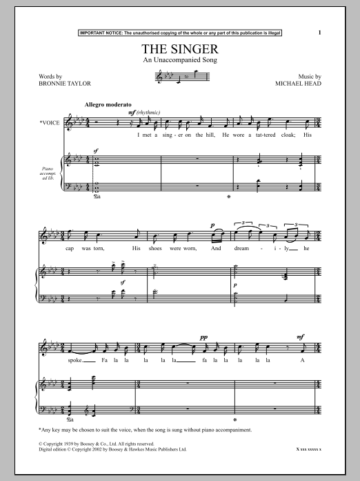 Michael Head The Singer (An Unaccompanied Song) sheet music notes and chords