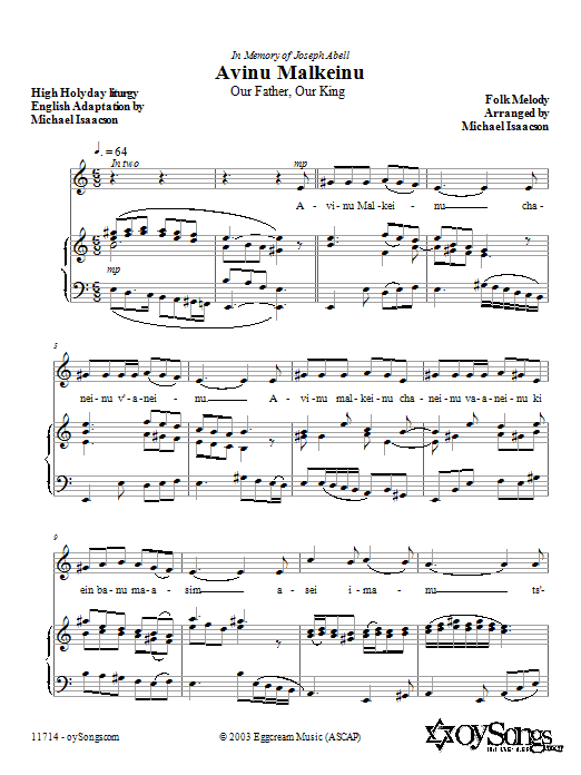 Download Michael Isaacson 'Avinu Malkeinu' Digital Sheet Music Notes & Chords and start playing in minutes