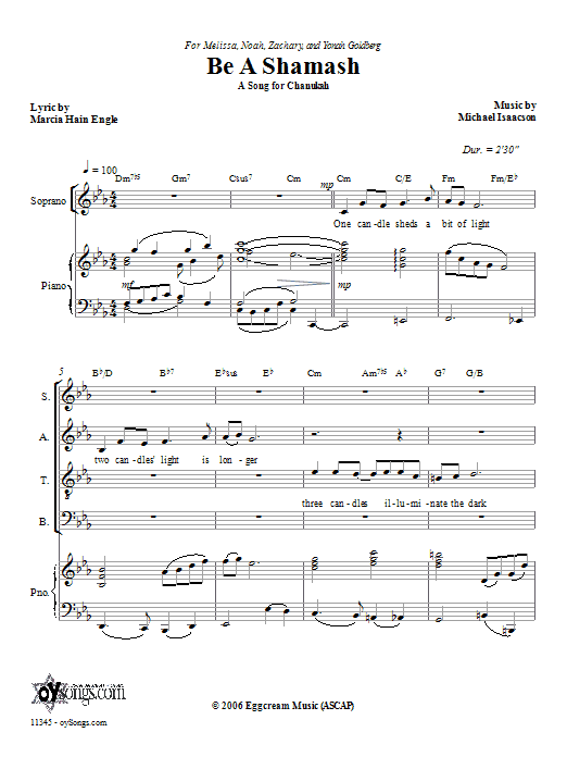 Michael Isaacson Be a Shamash sheet music preview music notes and score for SATB including 8 page(s)
