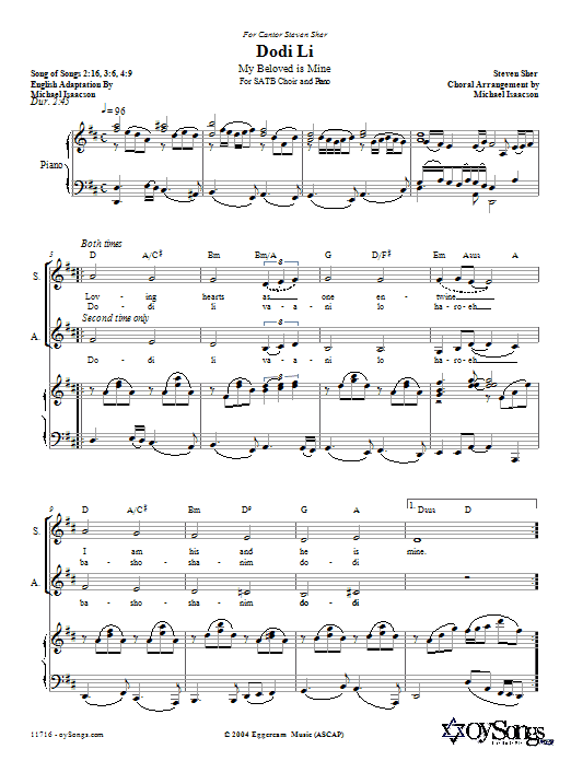Michael Isaacson Dodi Li sheet music preview music notes and score for SATB including 8 page(s)