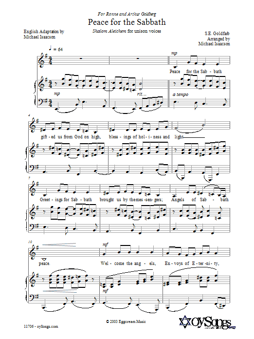 Download Michael Isaacson 'Peace for the Sabbath' Digital Sheet Music Notes & Chords and start playing in minutes