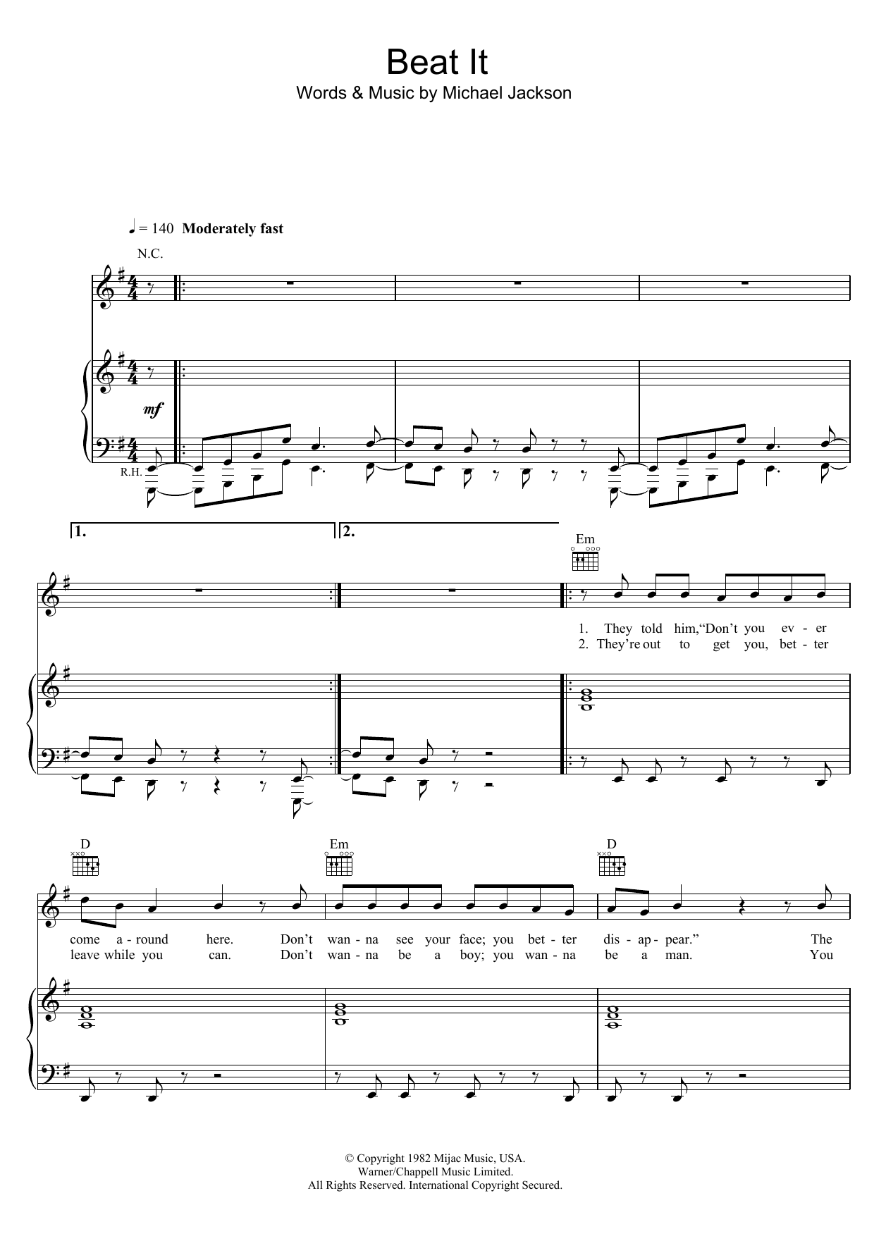 Michael Jackson Beat It sheet music preview music notes and score for Easy Guitar Tab including 3 page(s)