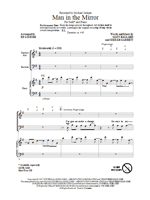 Michael Jackson Man In The Mirror (arr. Ed Lojeski) sheet music preview music notes and score for 2-Part Choir including 14 page(s)