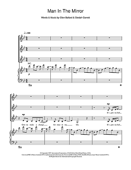 Michael Jackson Man In The Mirror sheet music notes and chords