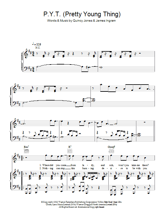 Michael Jackson P.Y.T. (Pretty Young Thing) sheet music preview music notes and score for Easy Piano including 7 page(s)