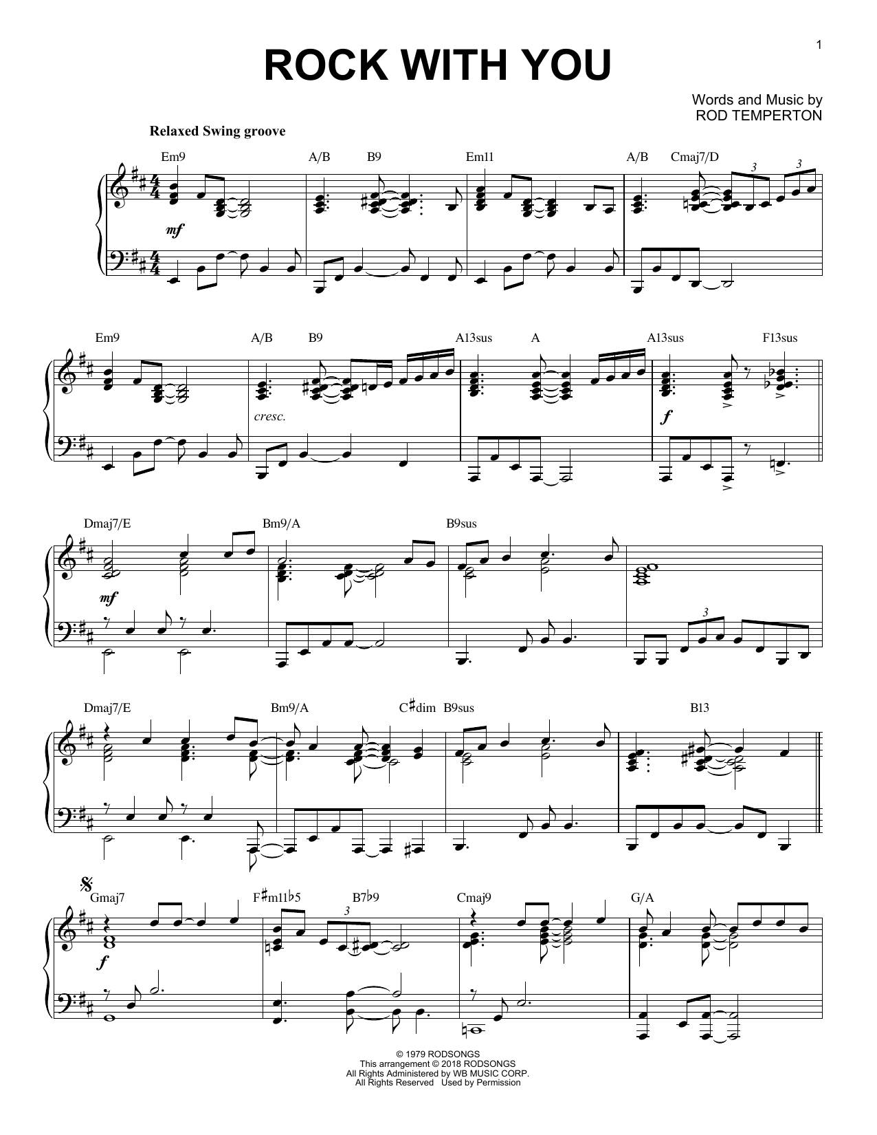 Download Michael Jackson 'Rock With You' Digital Sheet Music Notes & Chords and start playing in minutes