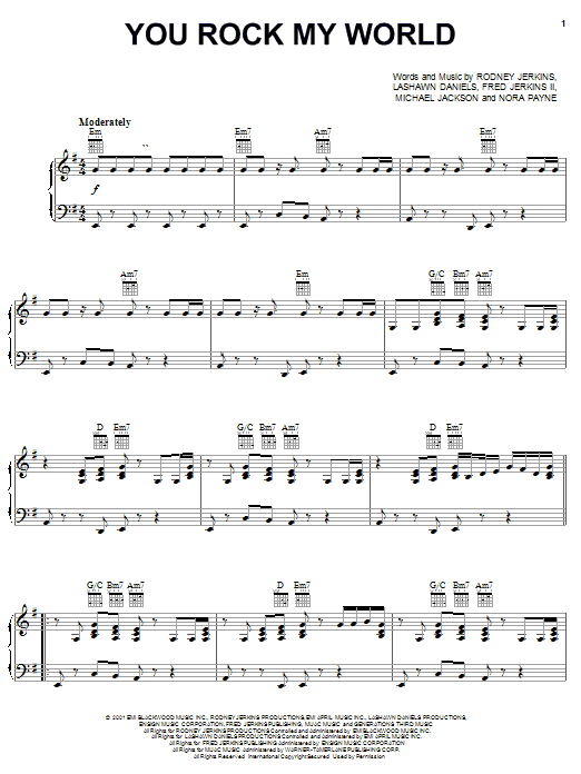 Michael Jackson You Rock My World sheet music notes and chords
