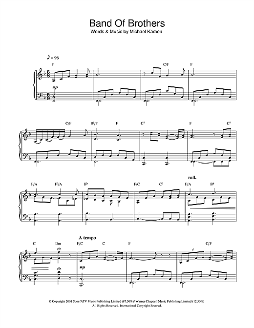 Download Michael Kamen 'Band Of Brothers' Digital Sheet Music Notes & Chords and start playing in minutes