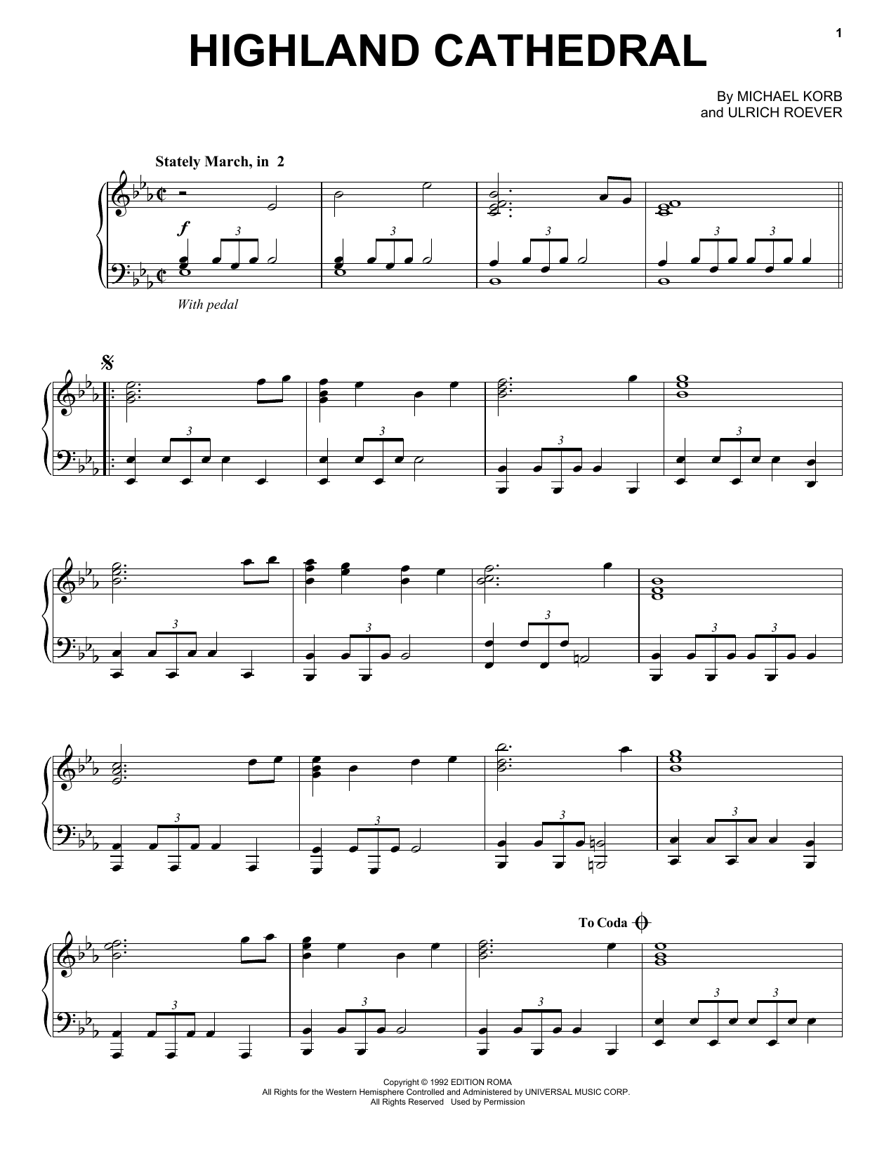 Michael Korb Highland Cathedral sheet music preview music notes and score for Easy Piano including 3 page(s)