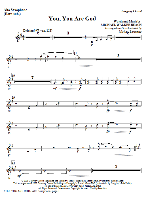 Michael Lawrence You, You Are God - Alto Sax 1 & 2 (Sub. Horn) sheet music preview music notes and score for Choir Instrumental Pak including 2 page(s)