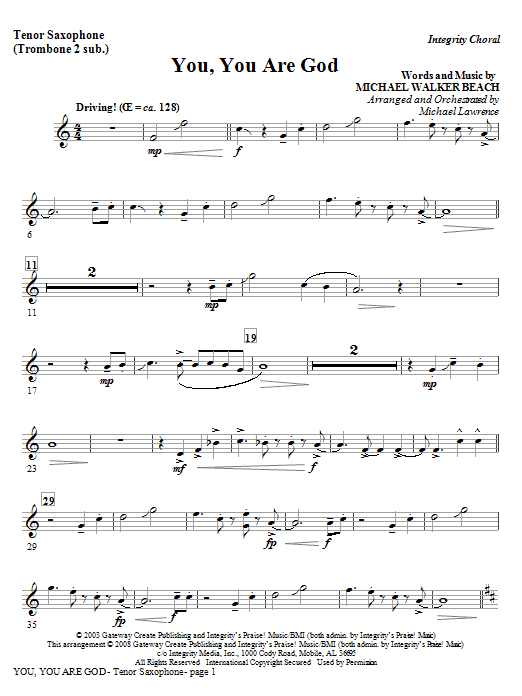 Michael Lawrence You, You Are God - Bb Tenor Sax/Bar. TC (Trb 1,2) sheet music preview music notes and score for Choir Instrumental Pak including 2 page(s)