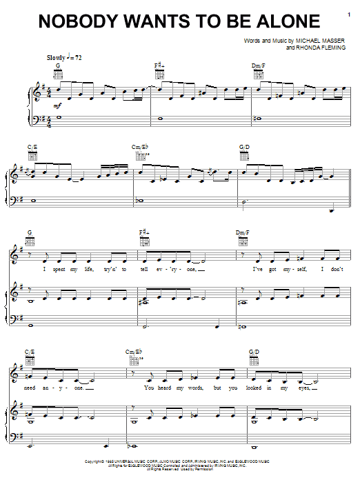 Michael Masser Nobody Wants To Be Alone sheet music preview music notes and score for Piano, Vocal & Guitar (Right-Hand Melody) including 4 page(s)