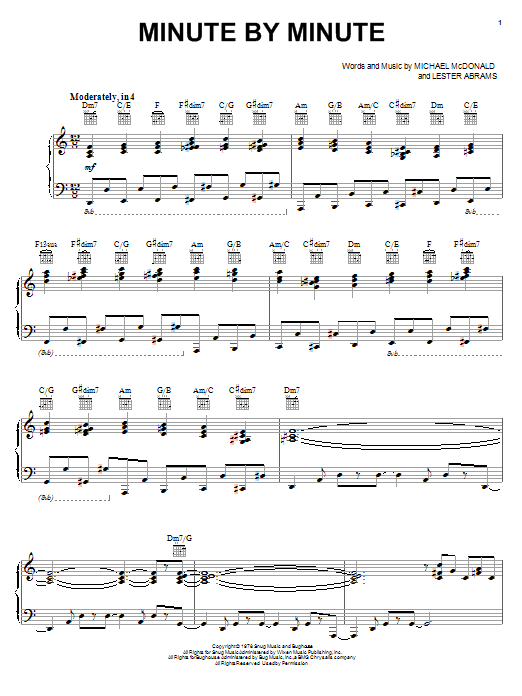 Michael McDonald Minute By Minute sheet music preview music notes and score for Piano, Vocal & Guitar (Right-Hand Melody) including 7 page(s)