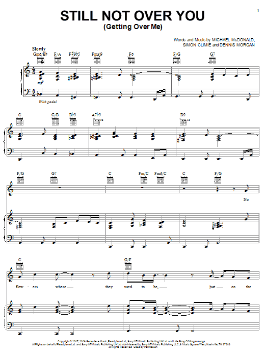Michael McDonald Still Not Over You (Getting Over Me) sheet music preview music notes and score for Piano, Vocal & Guitar (Right-Hand Melody) including 8 page(s)