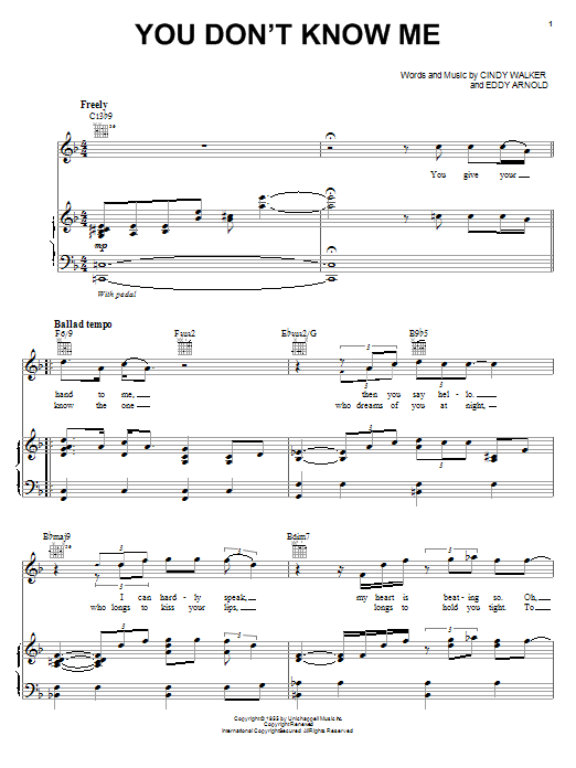 Michael McDonald You Don't Know Me sheet music preview music notes and score for Piano, Vocal & Guitar (Right-Hand Melody) including 5 page(s)