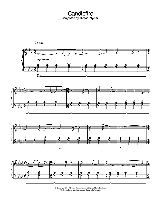 Download Michael Nyman 'Candlefire (from The Diary Of Anne Frank)' Digital Sheet Music Notes & Chords and start playing in minutes