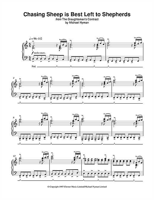 Michael Nyman Chasing Sheep Is Best Left To Shepherds (from The Draughtsman's Contract) sheet music notes and chords