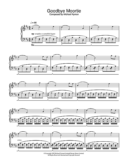 Download Michael Nyman 'Goodbye Moortie (from The Diary Of Anne Frank)' Digital Sheet Music Notes & Chords and start playing in minutes