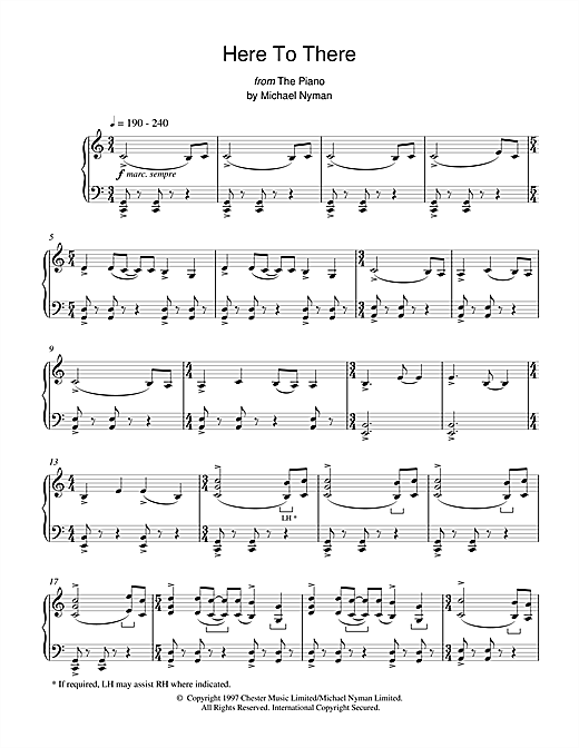 Download Michael Nyman 'Here To There (from The Piano)' Digital Sheet Music Notes & Chords and start playing in minutes