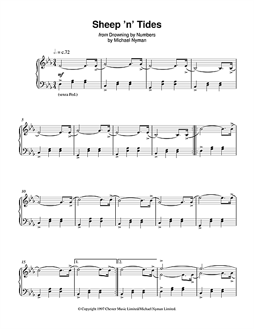 Michael Nyman Sheep 'n' Tides (from Drowning By Numbers) sheet music notes and chords