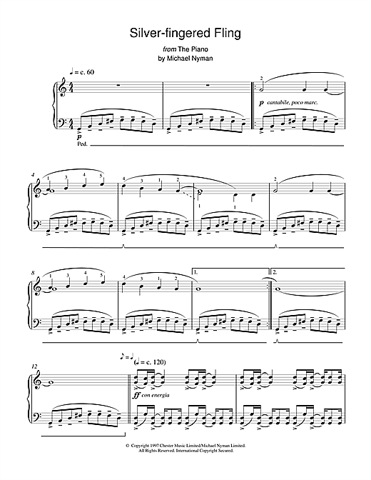 Michael Nyman Silver-Fingered Fling (from The Piano) sheet music notes and chords