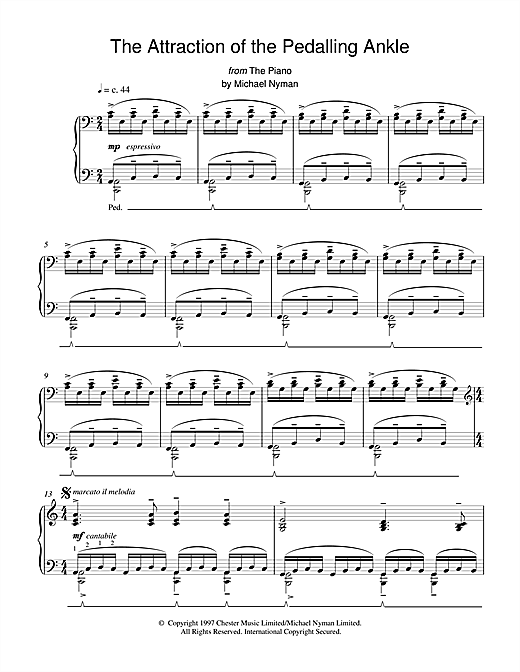 Download Michael Nyman 'The Attraction of the Pedalling Ankle (from The Piano)' Digital Sheet Music Notes & Chords and start playing in minutes