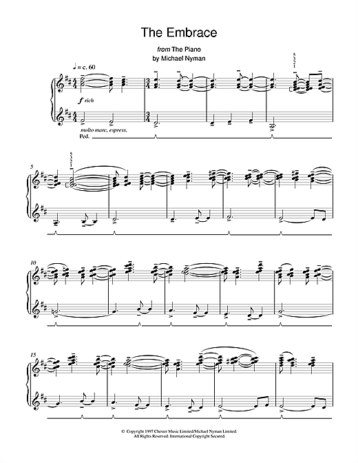Michael Nyman The Embrace (from The Piano) sheet music notes and chords