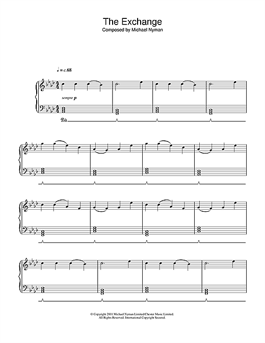 Download Michael Nyman 'The Exchange (from The Claim)' Digital Sheet Music Notes & Chords and start playing in minutes