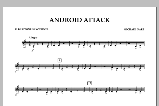 Michael Oare Android Attack - Eb Baritone Saxophone sheet music notes and chords