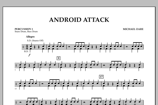 Michael Oare Android Attack - Percussion 1 sheet music notes and chords