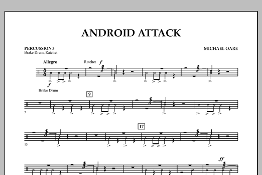Michael Oare Android Attack - Percussion 3 sheet music notes and chords