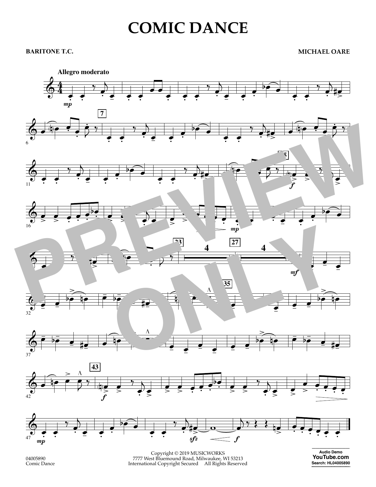 Michael Oare Comic Dance - Baritone T.C. sheet music preview music notes and score for Concert Band including 1 page(s)