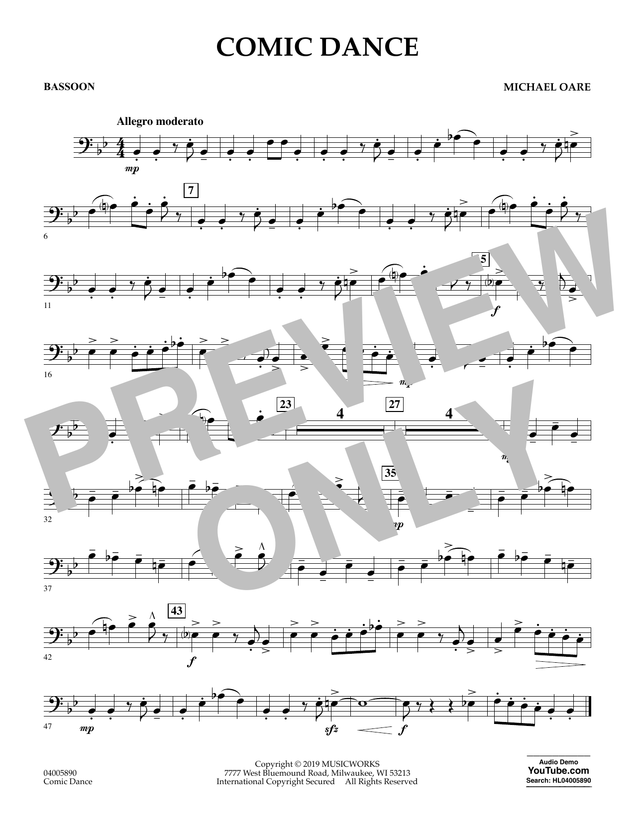 Michael Oare Comic Dance - Bassoon sheet music preview music notes and score for Concert Band including 1 page(s)