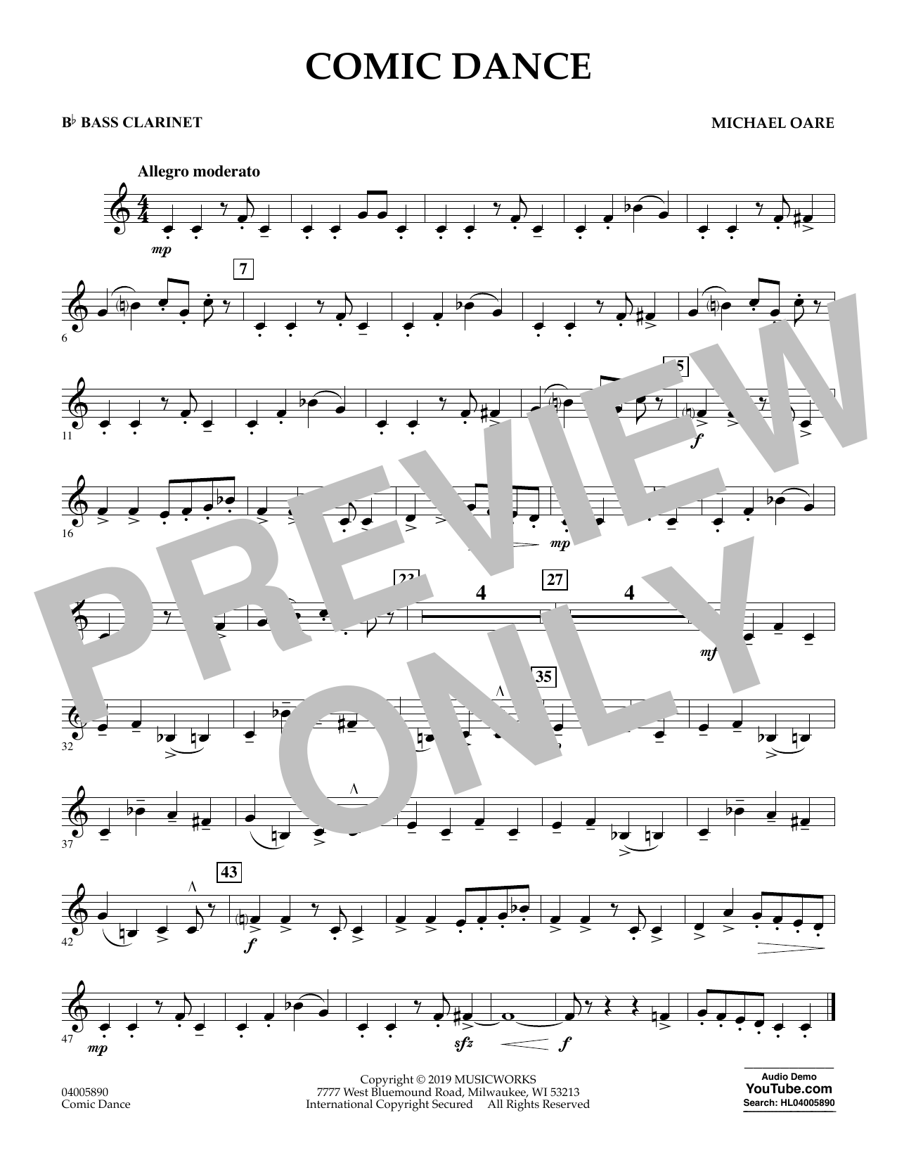 Michael Oare Comic Dance - Bb Bass Clarinet sheet music preview music notes and score for Concert Band including 1 page(s)
