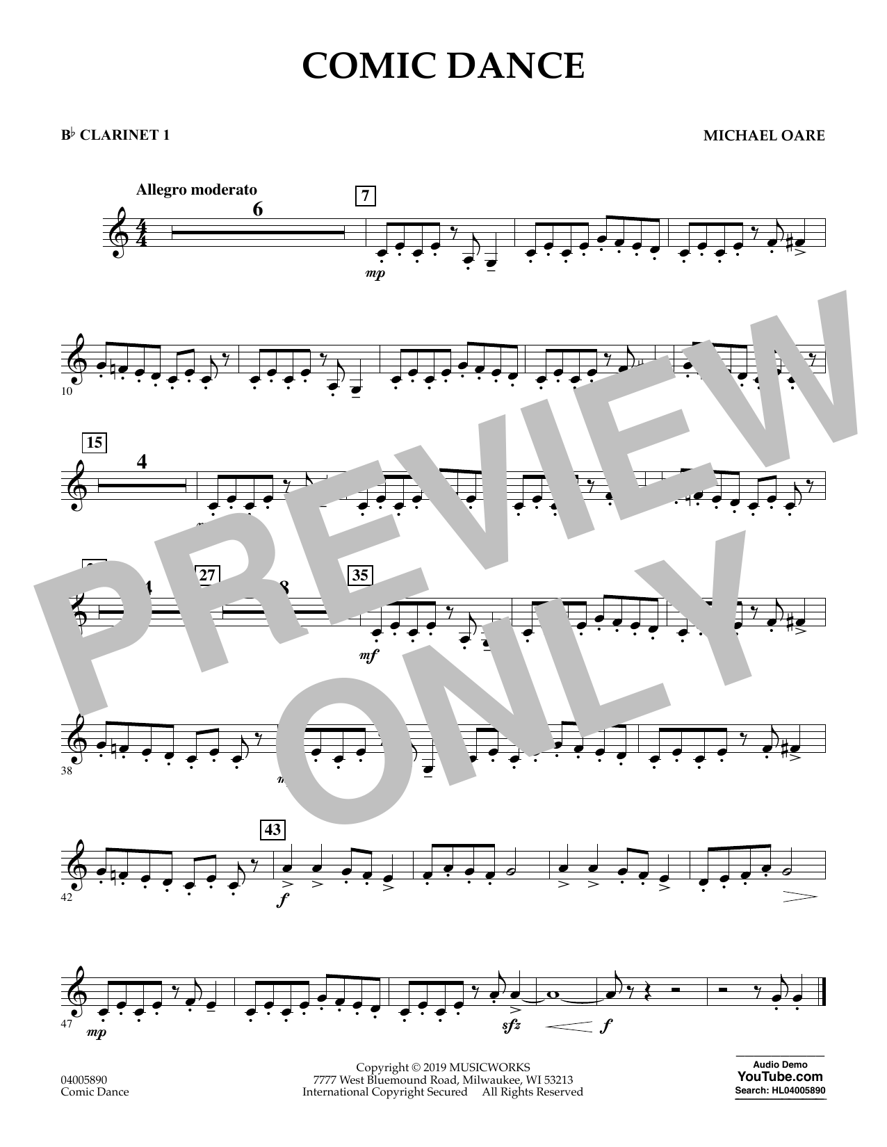 Michael Oare Comic Dance - Bb Clarinet 1 sheet music preview music notes and score for Concert Band including 1 page(s)