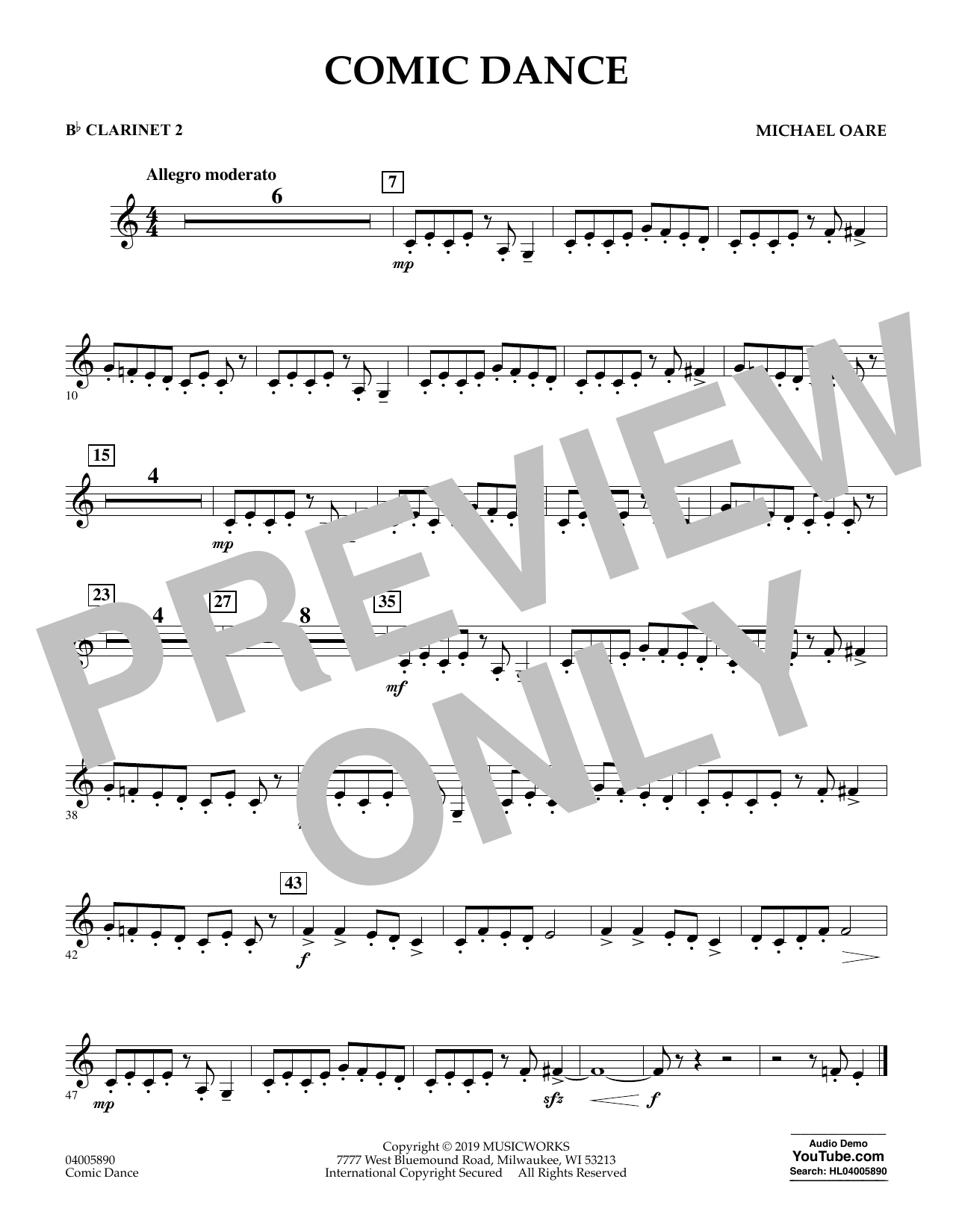 Michael Oare Comic Dance - Bb Clarinet 2 sheet music preview music notes and score for Concert Band including 1 page(s)