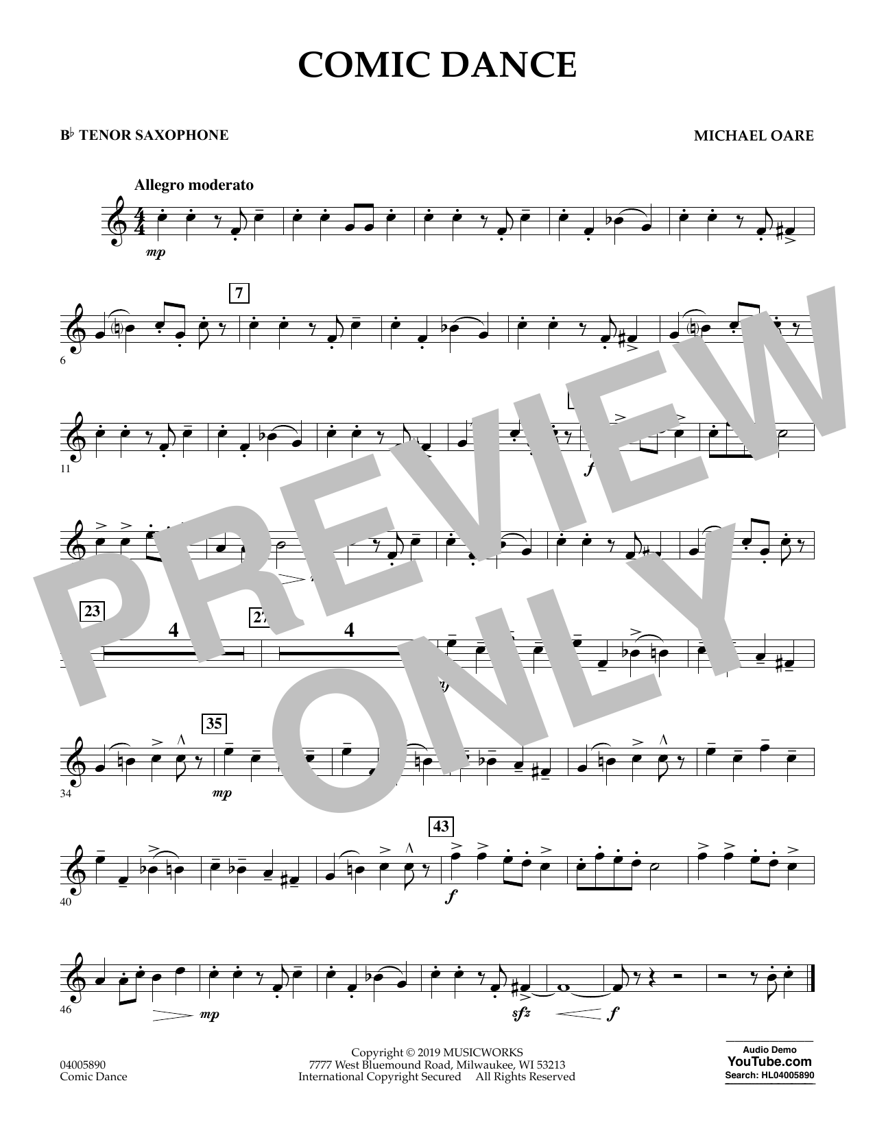 Michael Oare Comic Dance - Bb Tenor Saxophone sheet music preview music notes and score for Concert Band including 1 page(s)