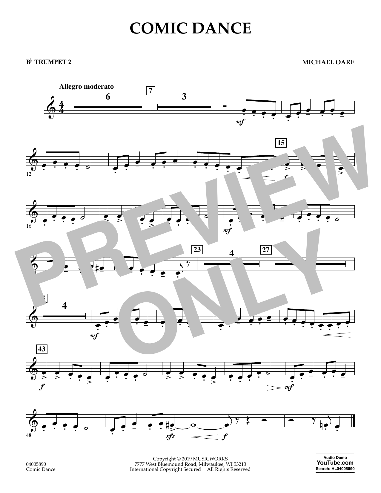 Michael Oare Comic Dance - Bb Trumpet 2 sheet music preview music notes and score for Concert Band including 1 page(s)